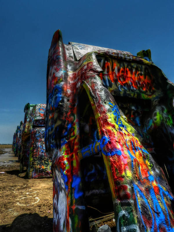 Amarillo Texas Poster featuring the photograph Amarillo - Cadillac Ranch 006 by Lance Vaughn