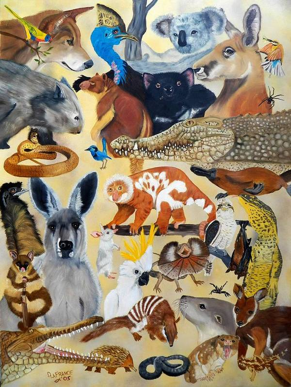 Kangaroo Poster featuring the painting Australia by Debbie LaFrance