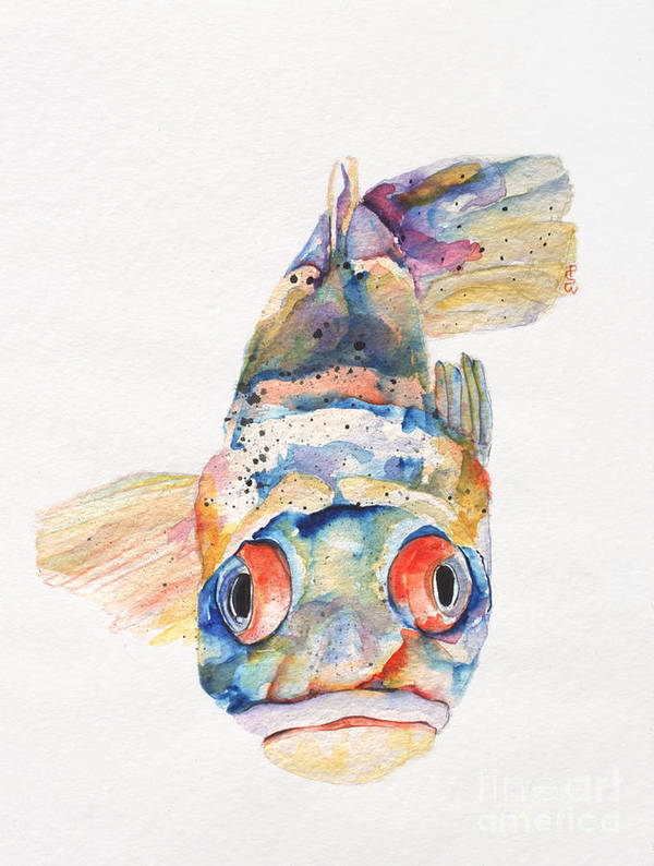 Pat Saunders-white Poster featuring the painting Blue Fish  by Pat Saunders-White