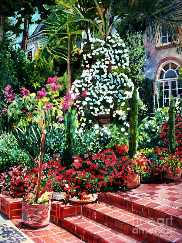 Gardens Poster featuring the painting Brick Steps by David Lloyd Glover