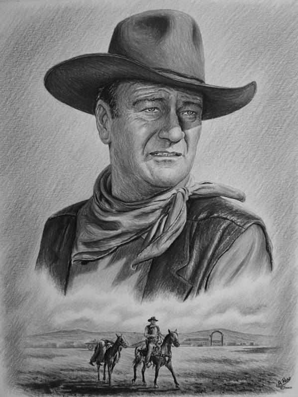 John Wayne Poster featuring the drawing Captured Bw Version by Andrew Read