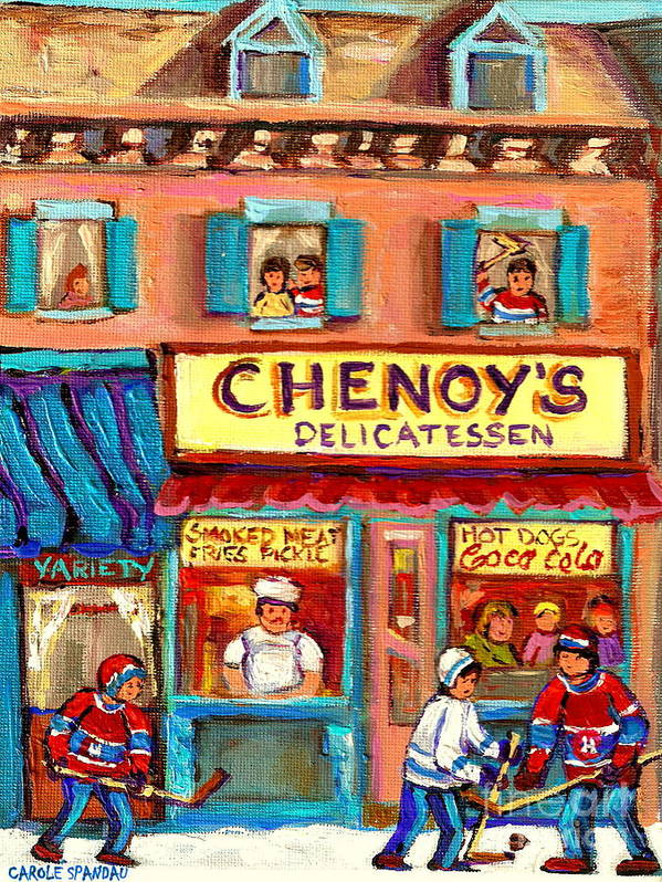 Paintings Of Chenoy's Deli Montreal Restaurants Poster featuring the painting Chenoys Delicatessen Montreal Landmarks Painting Carole Spandau Street Scene Specialist Artist by Carole Spandau