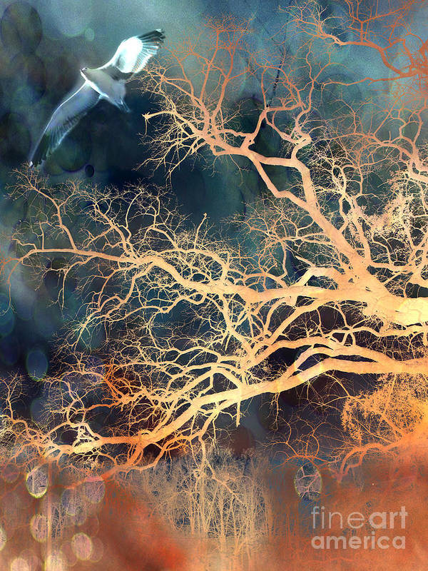 Surreal Tree And Nature Prints Poster featuring the photograph Fantasy Surreal Trees And Seagull Flying by Kathy Fornal