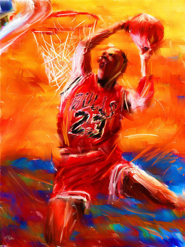Basketball Poster featuring the digital art His Airness by Lourry Legarde