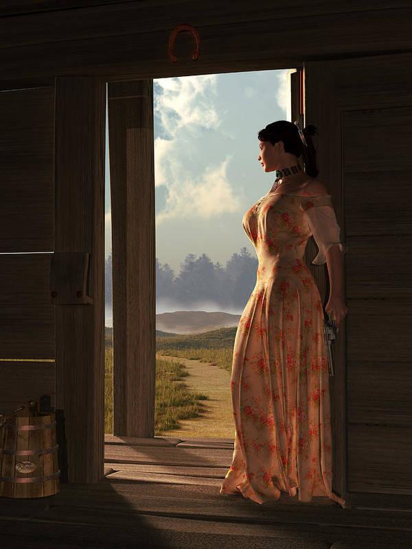 Widows Threshold Poster featuring the digital art Homestead Woman by Daniel Eskridge