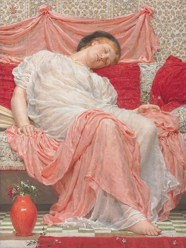 Female; Sleeping; Asleep; Resting; Pink; Drapery; Cushions; Vase; Flowers; Pre-raphaelite Poster featuring the painting Jasmine by Albert Joesph Moore
