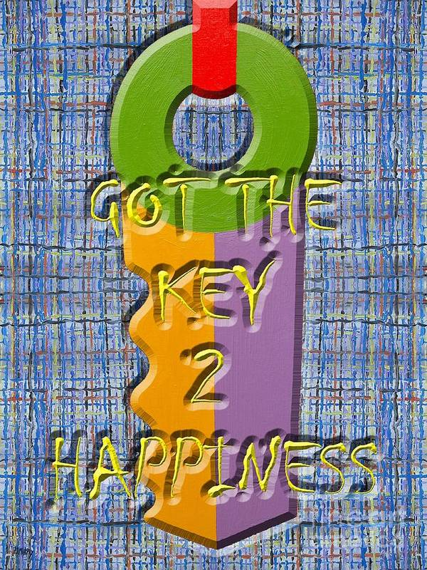 Happy Poster featuring the painting Key To Happiness by Patrick J Murphy