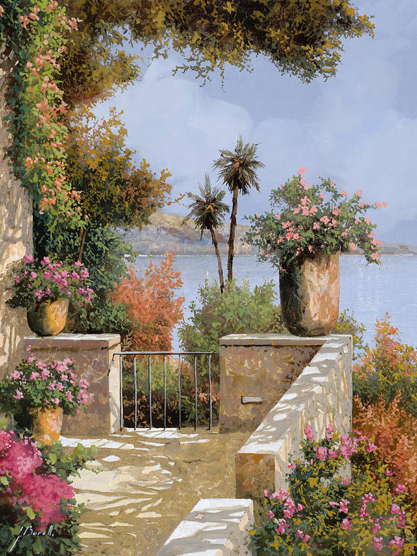 Terrace Poster featuring the painting La Terrazza Un Vaso Due Palme by Guido Borelli