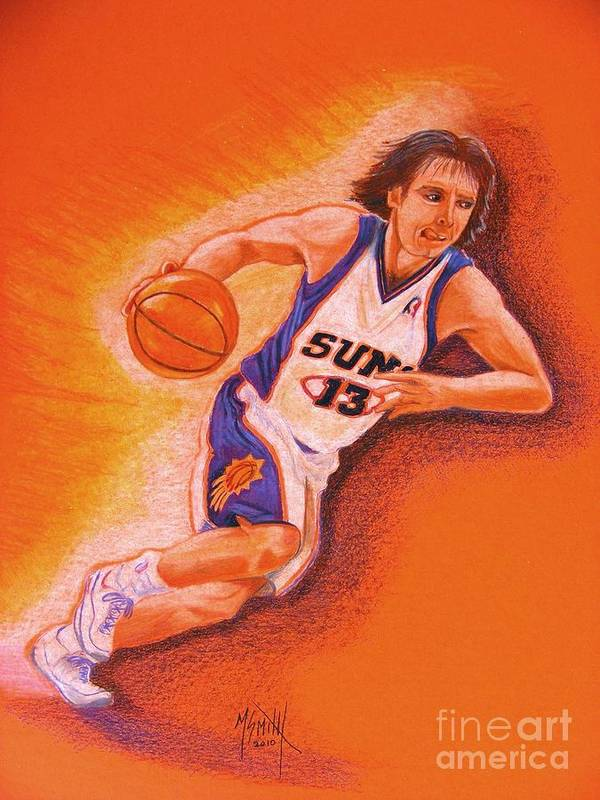 Steve Nash Poster featuring the drawing Man On Fire by Marilyn Smith