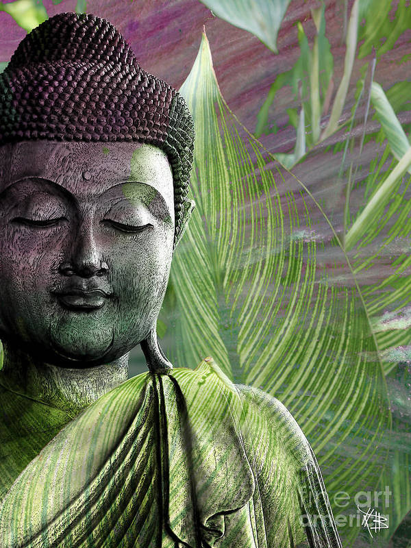 Buddha Poster featuring the mixed media Meditation Vegetation by Christopher Beikmann