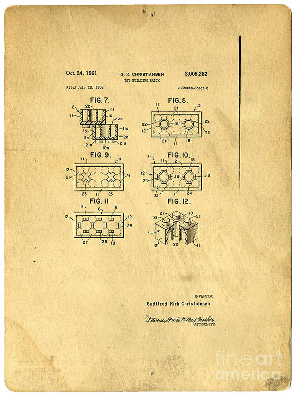 Lego Poster featuring the drawing Original Patent For Lego Toy Building Brick by Edward Fielding