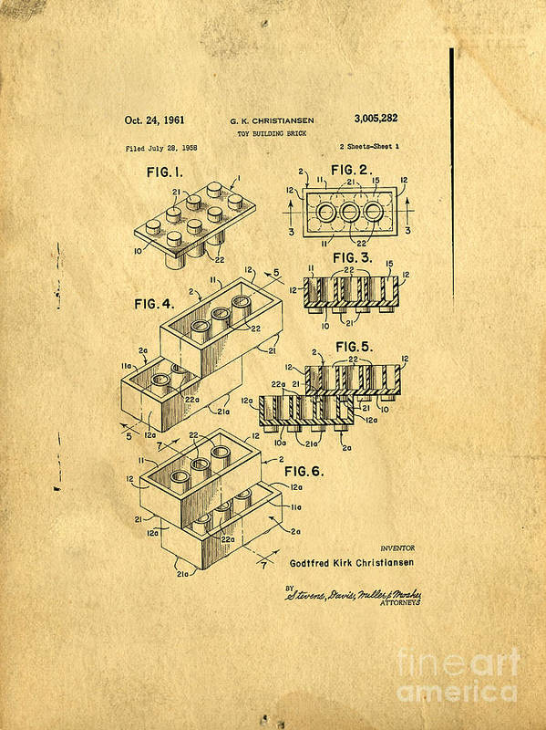 Lego Poster featuring the drawing Original Us Patent For Lego by Edward Fielding