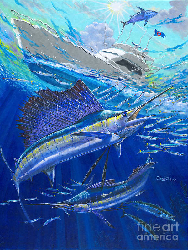 Sailfish Poster featuring the painting Out Of Sight by Carey Chen
