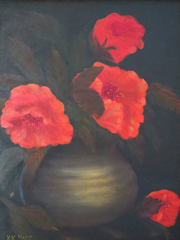 Red Poster featuring the painting Red Poppies by Kay Novy