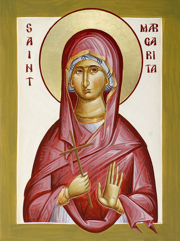 St Margarita Poster featuring the painting St Margarita by Julia Bridget Hayes
