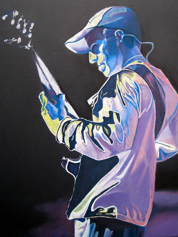 Stefan Lessard Poster featuring the drawing Stefan Lessard Colorful Full Band Series by Joshua Morton