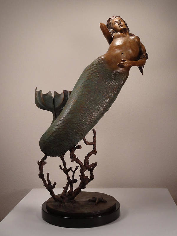 Mermaid Poster featuring the sculpture The Mermaid by Lisbeth Sabol