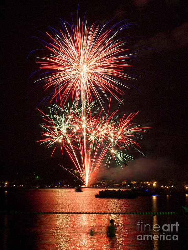 Fireworks Poster featuring the photograph Wading View Of Fireworks by Mark Miller