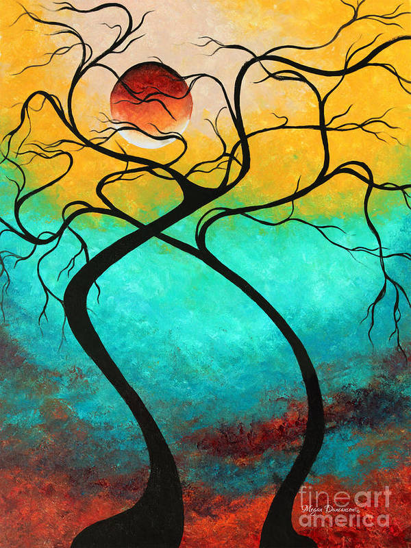 Abstract Poster featuring the painting Whimsical Abstract Tree Landscape With Moon Twisting Love IIi By Megan Duncanson by Megan Duncanson