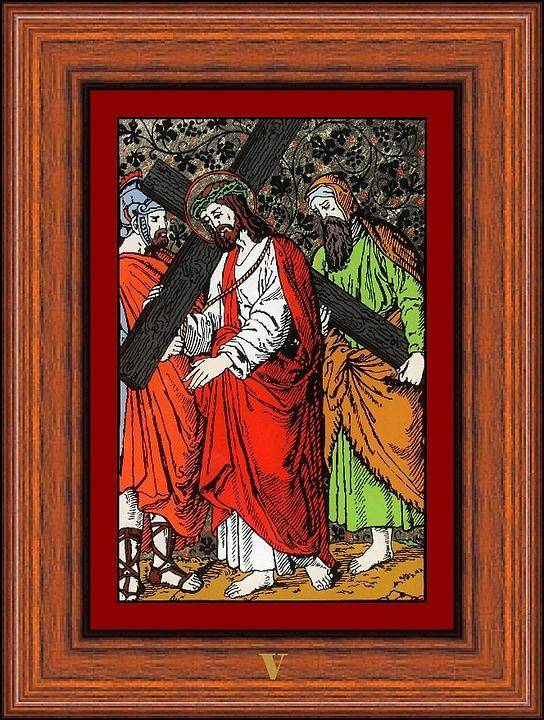V - Simeon Cireneul �l Ajut� Pe Isus S� Duc� Crucea (simon Helps Jesus To Carry His Cross) - Icoana Pictata In Ulei Cu Foita De Aur Pe Sticla (icon Painted In Oil With Gold Leaf On Glass ) Poster featuring the painting Drumul Crucii - Stations Of The Cross by Buclea Cristian Petru