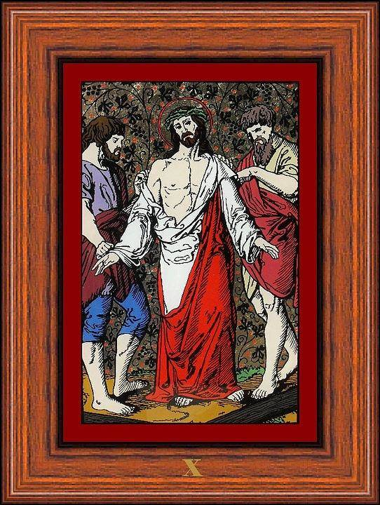 X - Iisus Este Dezbr�cat De Haine (jesus Is Stripped Of His Garments) - Icoana Pictata In Ulei Cu Foita De Aur Pe Sticla (icon Painted In Oil With Gold Leaf On Glass ) Poster featuring the painting Drumul Crucii - Stations Of The Cross by Buclea Cristian Petru
