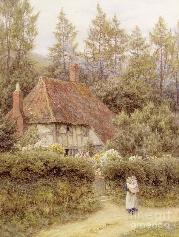 Mother And Child; Gate; Rural Scene; Country; Countryside; Home; House; Path; Garden; Wildflowers; Picturesque; Idyllic; Daughter; Timber Frame; Half-timbered; Children; Female Poster featuring the painting A Cottage Near Haslemere by Helen Allingham