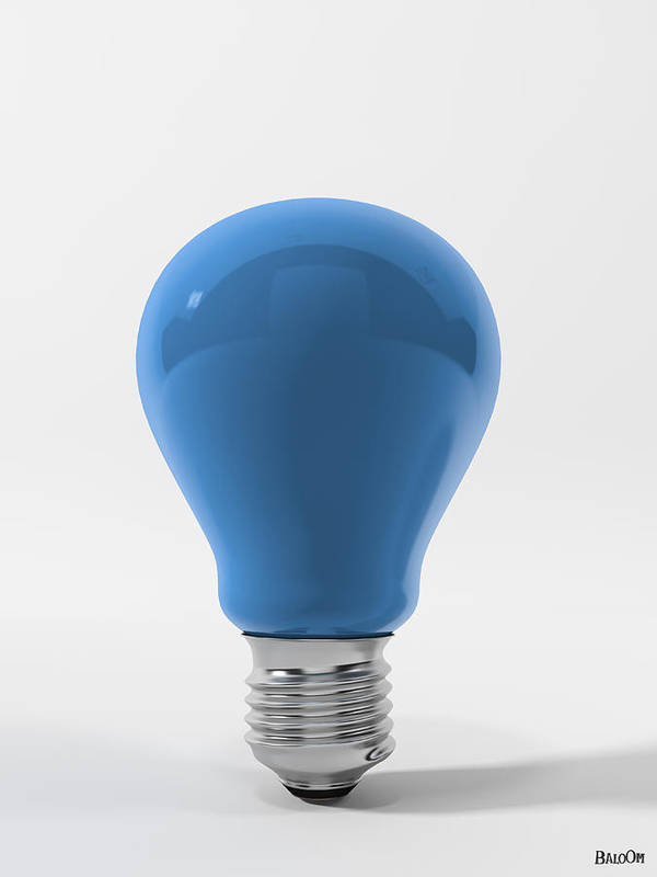 Blue Sky Lamp Poster featuring the digital art Blue Sky Lamp by BaloOm Studios
