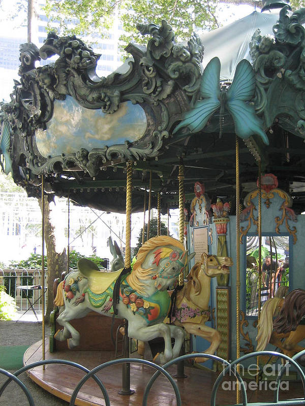 Amusement Poster featuring the photograph Bryant Park Carousel by Blanche Knake