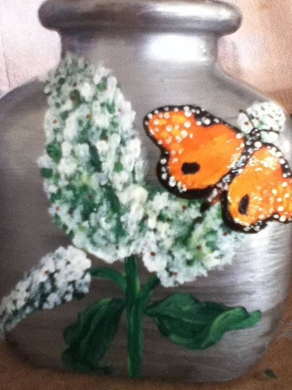 Butterfly Poster featuring the glass art Buttlerfly Flower Miniature Vase by Berta Barocio-Sullivan