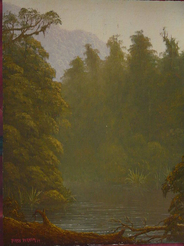 Landscape Poster featuring the painting Ellery River 1977 by Terry Perham