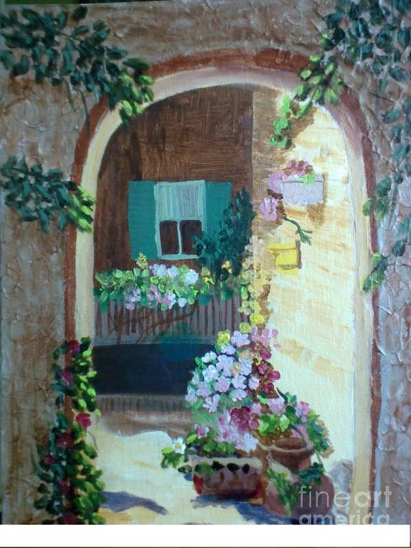 Texture Poster featuring the painting Flowers In Stone Doorway by Jeanene Miller