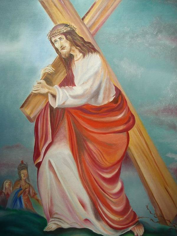 Jesus Poster featuring the painting Jesus by Prasenjit Dhar