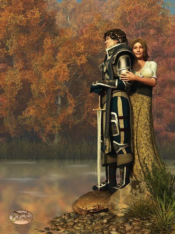 Lancelot Poster featuring the digital art Lancelot And Guinevere by Daniel Eskridge