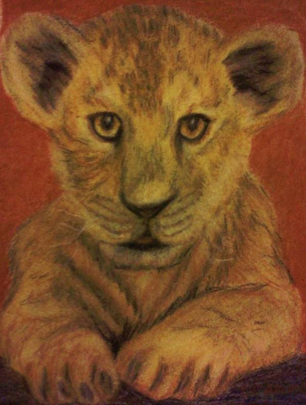 Lions Poster featuring the pastel Lion Cub by Christy Saunders Church