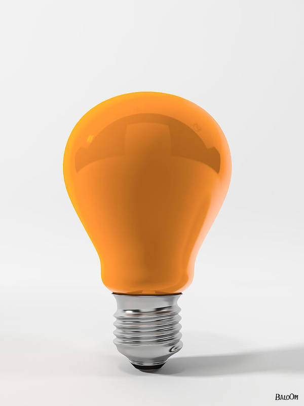 Orange Lamp Poster featuring the digital art Orange Ligth Bulb by BaloOm Studios