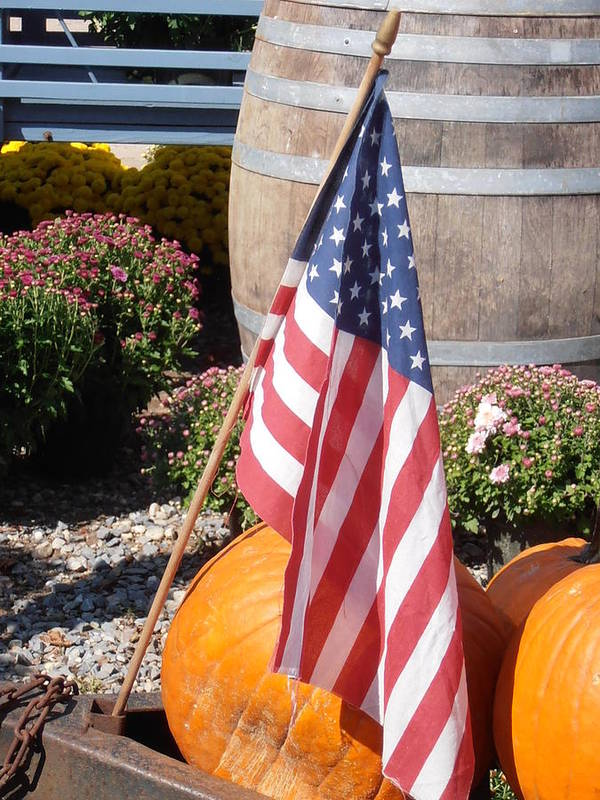Flag Poster featuring the photograph Patriotic Farm Stand by Kimberly Perry