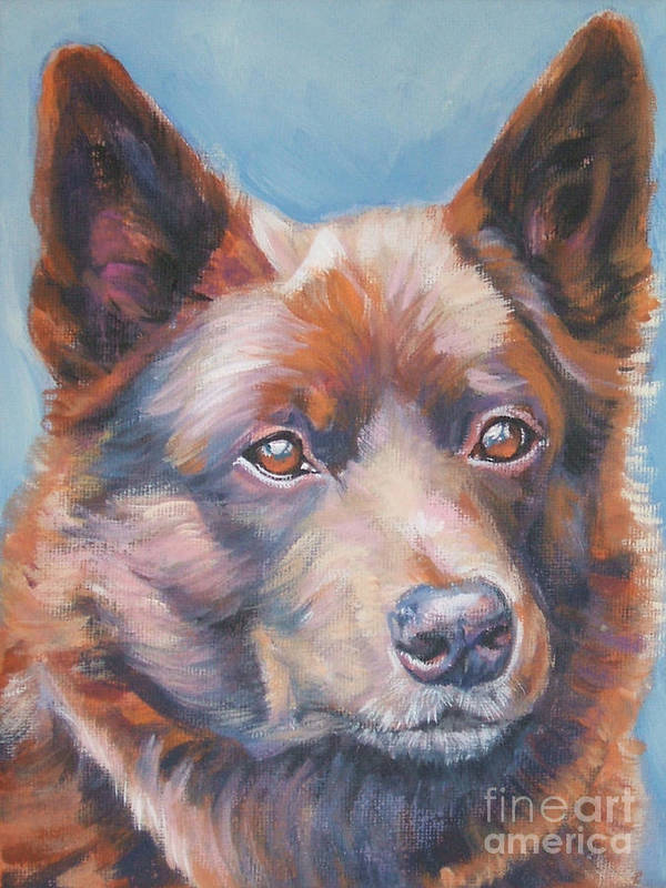 Red Poster featuring the painting red Australian Kelpie by Lee Ann Shepard