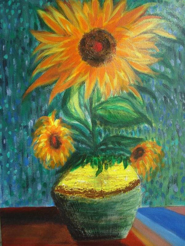 Vase Poster featuring the painting Sunflower In A Vase by Prasenjit Dhar