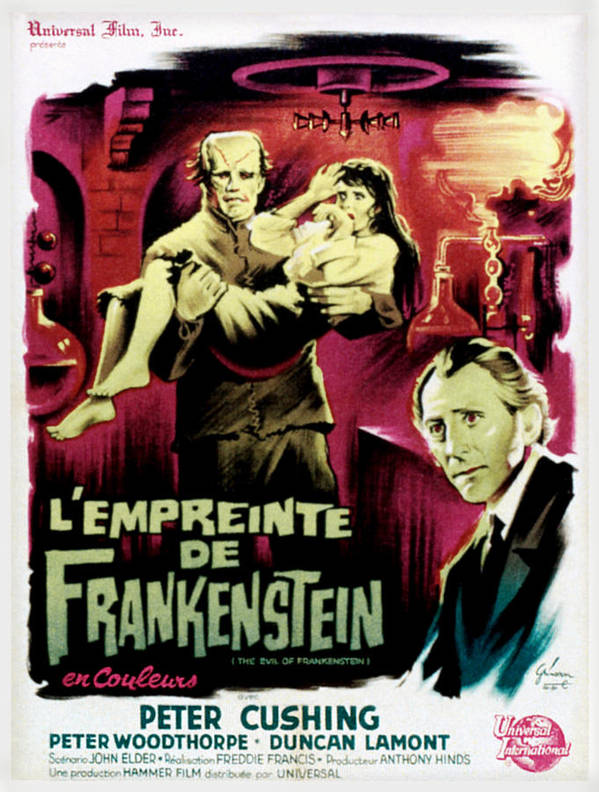 1964 Movies Poster featuring the photograph The Evil Of Frankenstein Aka Lempreinte by Everett