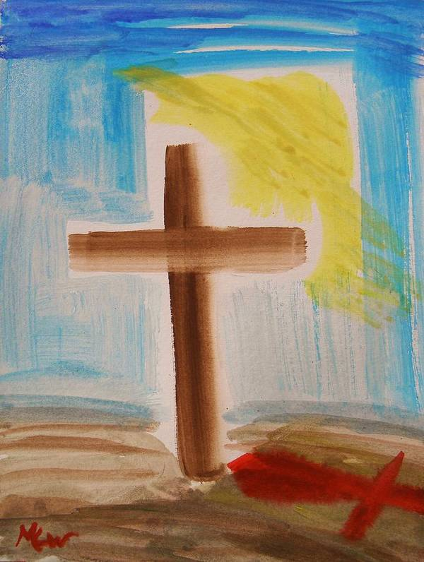 Jesus Poster featuring the painting Tim Tebow's Cross-easter Monday by Mary Carol Williams