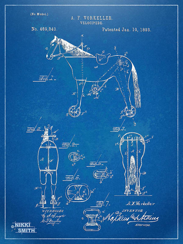 Horse Poster featuring the digital art Velocipede Horse-bike Patent Artwork 1893 by Nikki Marie Smith