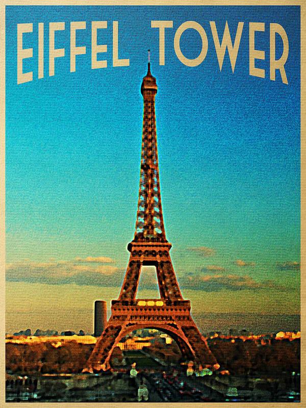 Eiffel Tower Poster featuring the digital art Vintage Eiffel Tower by Flo Karp