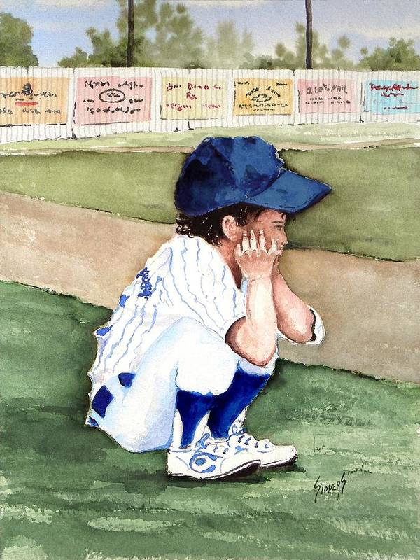 Baseball Poster featuring the painting When Do I Get To Play by Sam Sidders