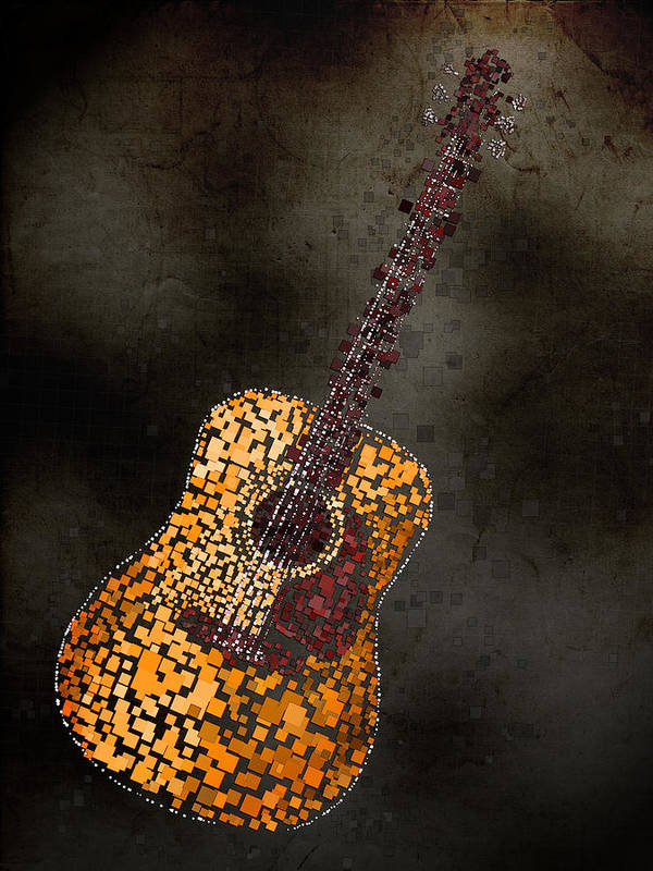 Guitar Poster featuring the mixed media Abstract Guitar by Michael Tompsett