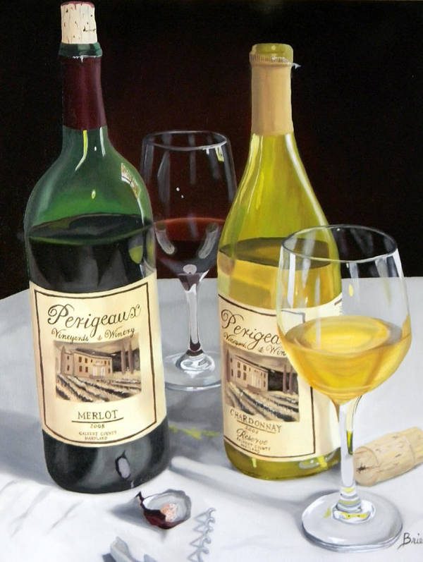 Wine Art Paintings Poster featuring the painting After Five by Brien Cole
