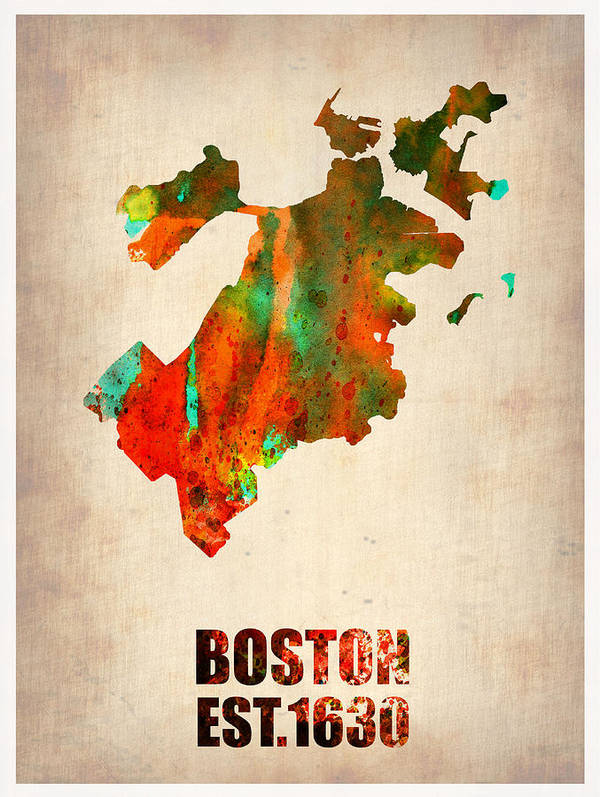 Boston Poster featuring the painting Boston Watercolor Map by Naxart Studio