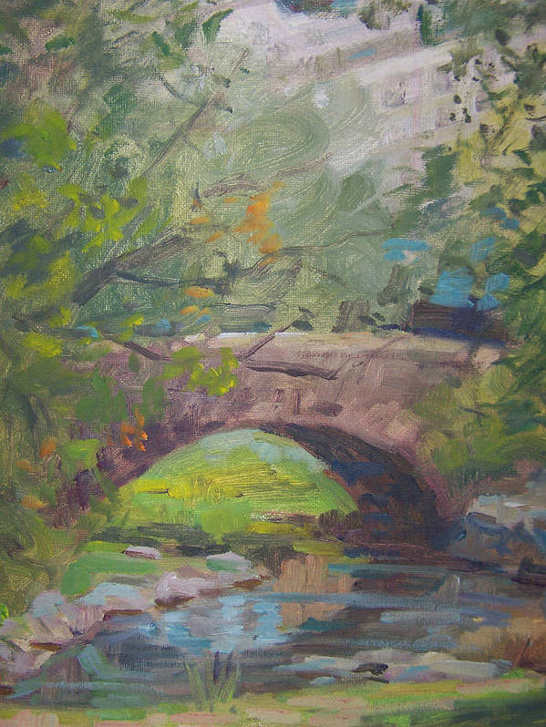 Small Bridge And Pond In Central Park Ny Poster featuring the painting Central Park Bridge by Bart DeCeglie