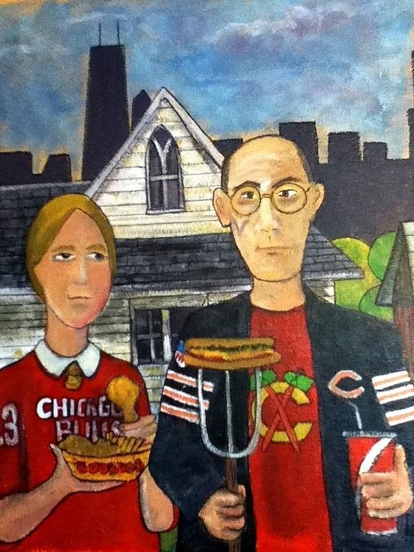 American Gothic Poster featuring the painting Chicago Gothic by Richard Hubal