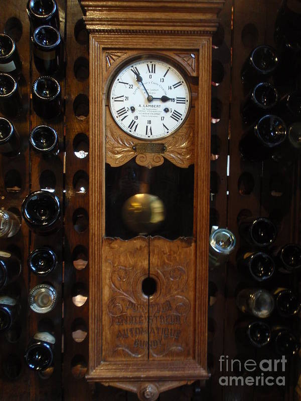 Wine Poster featuring the photograph Clock Wine Rack by Valia Bradshaw