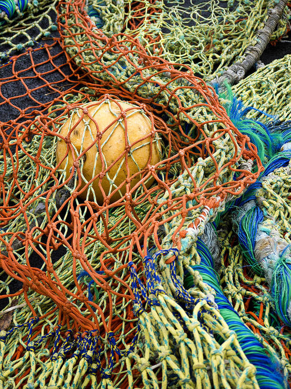 Fishing Poster featuring the photograph Colorful Nets And Float by Carol Leigh
